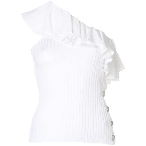 Imagem de Balmain Blusa de um ombro só com babado - Branco