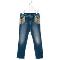 Douuod Kids Calça Jeans Slim Com Franjas Nos Bolso - Azul