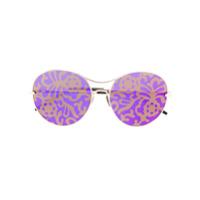 Pomellato Eyewear Óculos De Sol Com Lentes Florais - Metallic