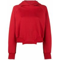 Esteban Cortazar Blusa De Moletom Assimétrica Cropped Com Capuz - Vermelho