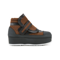 Marni Ankle Boot Flatform De Couro Com Velcro - Brown