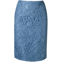 Martha Medeiros Saia Lápis De Renda Francesa - Azul