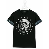 Diesel Kids Camiseta Com Estampa 'tait' - Preto