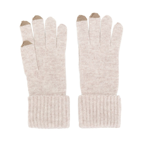 Sand nude cashmere ribbed gloves with touch screen tips from N.Peal. Works on smart phone and tablet screens.