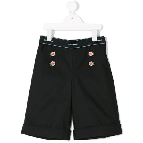 Imagem de Dolce & Gabbana Kids Bermuda com aplicação - Preto