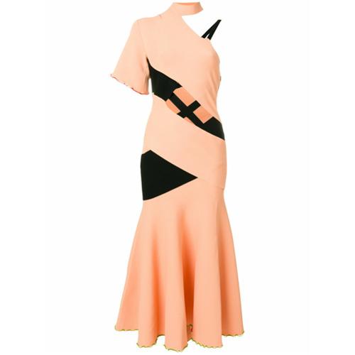 Vestido assimétrico rosa claro, Proenza Schouler.