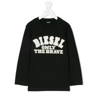 Diesel Kids Camiseta Com Logo Bordado - Preto