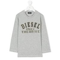 Diesel Kids Blusa Bordada Com Logo - Grey