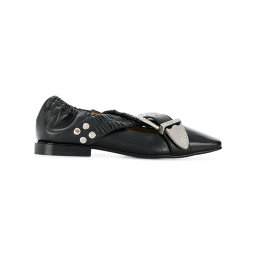 Black leather buckle strap detail ballerinas from Toga Pulla.