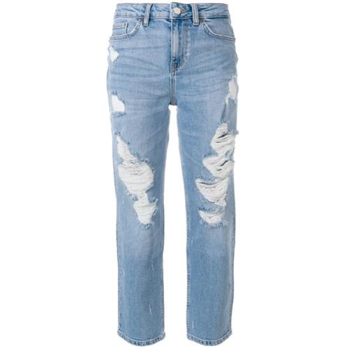 Calça jeans slim azul em algodão misto, Tommy Hilfiger. Possui cintura alta, passantes no cós, fechamento por botão e zí...