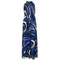 Emilio Pucci Vestido Longo Com Estampa Abstrata - Azul