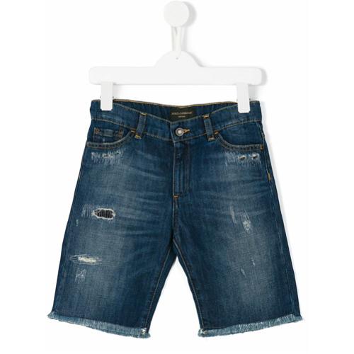 Imagem de Dolce & Gabbana Kids Bermuda jeans com acabamento puído - Azul