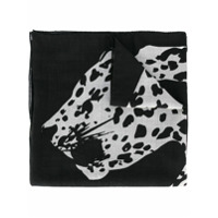 Saint Laurent Echarpe Com Estampa Leopardo - Preto
