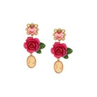 Dolce & Gabbana Par De Brincos De Rosa Com Cristais