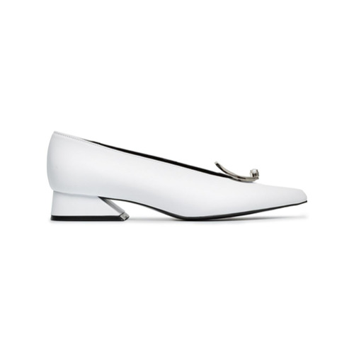 white 30 buckle leather pumps from YUUL YIE.