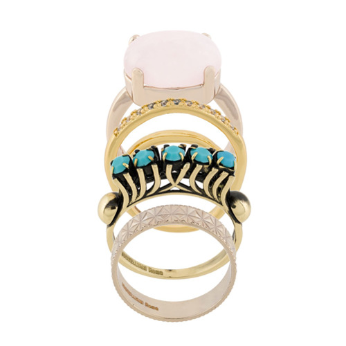 Imagem de Iosselliani Conjunto de anéis 'Elegua' banhados a ouro - Metálico