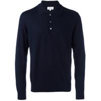 Brioni Camisa Polo De Cashmere E Seda Com Zig Zag - Azul
