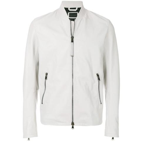 Jaqueta de couro 'LYBERTE' cinza clara, Diesel Black Gold. Possui gola xale, fechamento frontal por zíper, mangas longas...