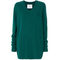 Push Button Suéter Com Detalhe De Bordado - Green