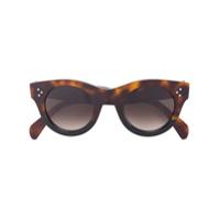 Céline Eyewear Óculos De Sol Tartaruga 'baby Audrey' - Brown
