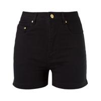 Amapô Shorts Jeans Cintura Alta - Preto