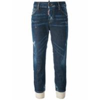 Dsquared2 Calça Jeans De Seda Cropped - Azul