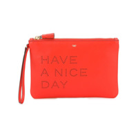 Anya Hindmarch Clutch De Couro 'have A Nice Day' - Vermelho