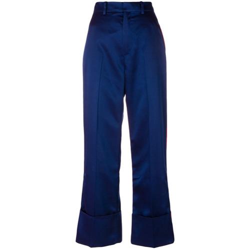 Calça de alfaiataria com contraste azul, Tommy Hilfiger. Possui passantes para cinto, detalhe de listra na lateral e cor...