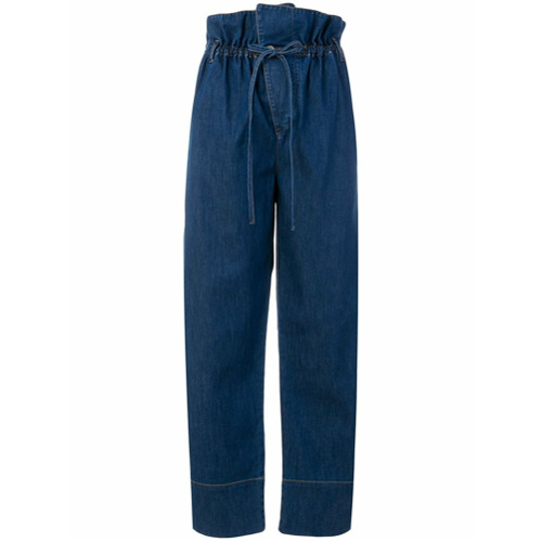 Calça jeans 'Oliva Voluminous' azul em algodão misto, Stella McCartney. Possui cintura alta, passantes para cinto, cintu...