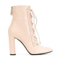 Casadei Ankle Boot De Couro Com Cadarço - Pink & Purple