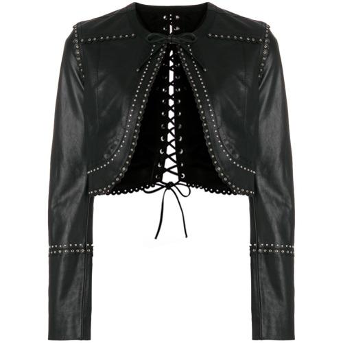 Jaqueta de couro preta, Diesel Black Gold. Possui decote arredondado, fechamento por laço, detalhes ondulados, detalhe d...