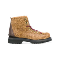 Buttero Bota De Couro Com Estampa De Leopardo - Brown