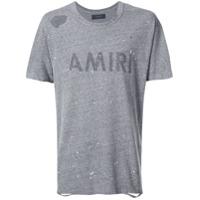 Amiri Camiseta Mangas Curtas Com Detalhes Puídos - Grey