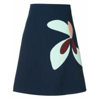 Delpozo Saia Com Estampa Floral - Azul