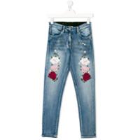 Monnalisa Calça Jeans Com Bordado Floral - Azul