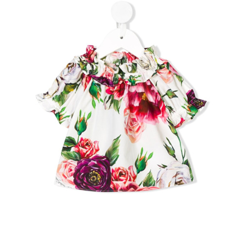 Imagem de Dolce & Gabbana Kids Blusa de mangas curtas com estampa floral - Branco