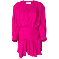 Balenciaga Vestido De Seda Acinturado Com Decote V - Pink & Purple