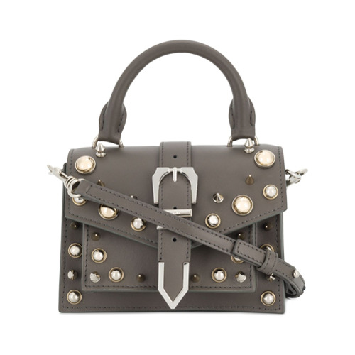 Grey leather studded buckle strap satchel from Versus.