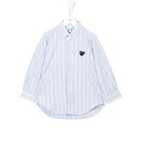 Comme Des Garçons Play Kids Camisa Listrada - Azul