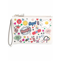 Anya Hindmarch Clutch De Couro 'all Over Wink Stickers' - Branco