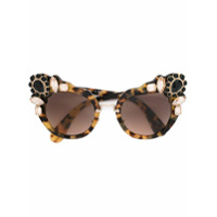 Miu Miu Eyewear Óculos De Sol Gatinho - Brown
