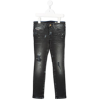 Diesel Kids Calça Jeans Skinny Com Detalhes Rasgados - Grey