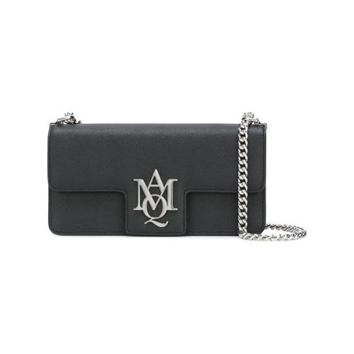 Imagem de Alexander McQueen Bolsa satchel de couro modelo 'Insignia' - Preto