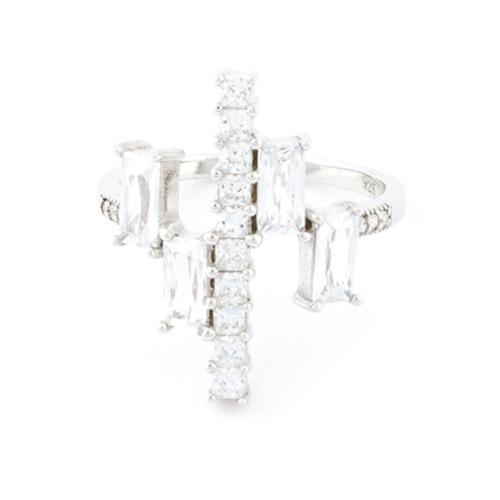 Imagem de V Jewellery Anel 'Simplicity' de prata com zircônia - Metálico