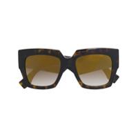 Fendi Eyewear Óculos De Sol Oversized - Brown