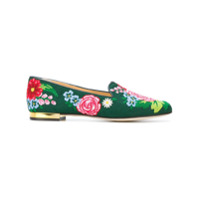 Charlotte Olympia Slipper Floral - Green