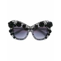 Dolce & Gabbana Eyewear Óculos De Sol Floral - Preto