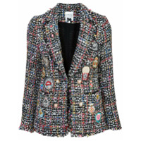 Edward Achour Paris Blazer De Tweed Com Patches - Estampado