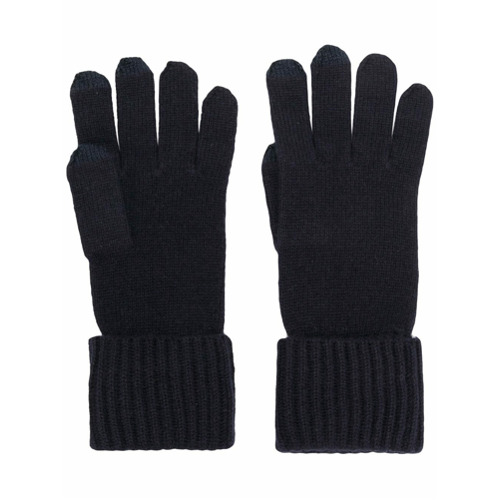 Midnight blue cashmere ribbed gloves with touch screen tips from N.Peal. Works on smart phone and tablet screens.