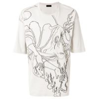 Diesel Black Gold Camiseta Estampada 'titan Flame' - Grey